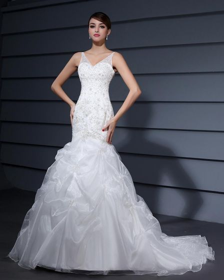 Yarn Ruffles V Neck Court Mermaid Bridal Gown Wedding Dress