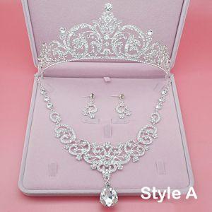 Mooie / Prachtige Bruidssieraden 2017 Zilveren Kristal Rhinestone Metaal Tiara Oorbellen Nek Ketting
