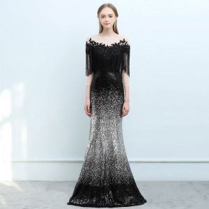 Sparkly Black Gradient-Color Silver Sequins Evening Dresses  2018 Trumpet / Mermaid See-through Square Neckline 3/4 Sleeve Tassel Appliques Lace Rhinestone Floor-Length / Long Backless Formal Dresses