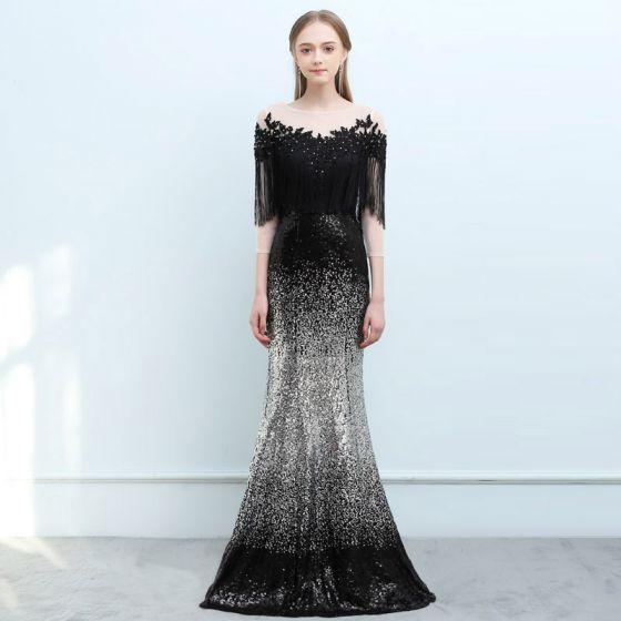 11a82c0a1092 Sparkly Black Gradient-Color Silver Sequins Evening Dresses 2018 Trumpet /  Mermaid See-through Square Neckline 3/4 Sleeve Tassel Appliques Lace ...