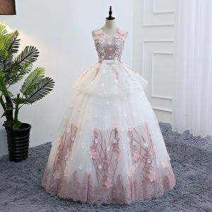 Elegant Ivory Prom Dresses 2018 Ball Gown Appliques Bow Pearl U-Neck Backless Sleeveless Floor-Length / Long Formal Dresses