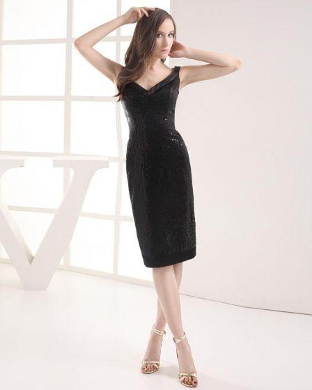 V Neck Paillette Knee Length Lace Imitation Silk Woman Graduation Dress