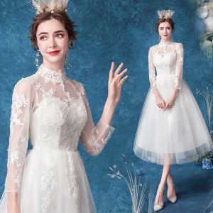 Erschwinglich Ivory / Creme Brautkleider / Hochzeitskleider 2020 A Linie Stehkragen Perle Spitze Blumen 3/4 Ärmel Wadenlang