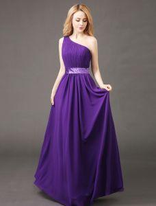 Elegantes Brautjunferkleid 2017 ein Schulterrüsche Chiffon Kleid mit Schärpe