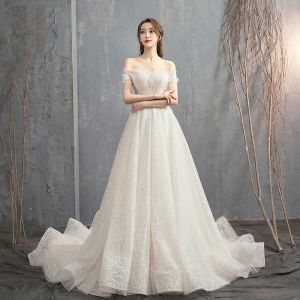 Chic / Beautiful Champagne Wedding Dresses 2019 A-Line / Princess Off-The-Shoulder Short Sleeve Backless Appliques Lace Pearl Beading Court Train Ruffle