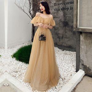 Schöne Gold Abendkleider 2019 A Linie Off Shoulder Kurze Ärmel Perlenstickerei Glanz Tülle Lange Rüschen Rückenfreies Festliche Kleider