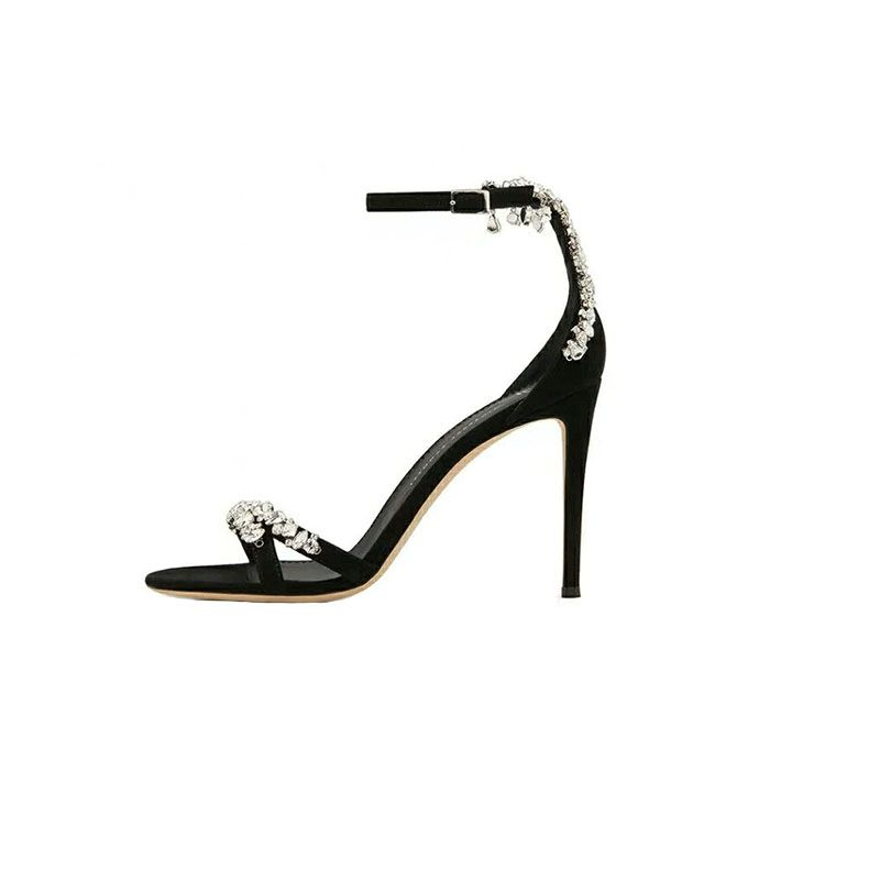 Modern / Fashion Black Casual Womens Sandals 2019 Leather Ankle Strap Rhinestone 10 cm Stiletto Heels Open / Peep Toe High Heels
