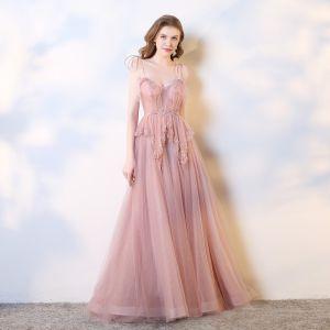 Piękne Rumieniąc Różowy Sukienki Wieczorowe 2019 Princessa Spaghetti Pasy Kokarda Cekiny Frezowanie Perła Z Koronki Kwiat Bez Rękawów Bez Pleców Trenem Sąd Sukienki Wizytowe