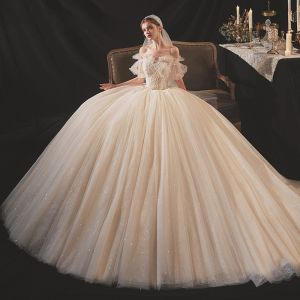 Victorian Style Champagne Bridal Wedding Dresses 2020 Ball Gown Off-The-Shoulder Puffy Short Sleeve Backless Appliques Lace Beading Glitter Tulle Cathedral Train Ruffle