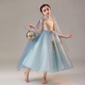 Chic / Beautiful Ocean Blue Birthday Flower Girl Dresses 2020 Ball Gown V-Neck Sleeveless Appliques Lace Beading Tea-length Ruffle