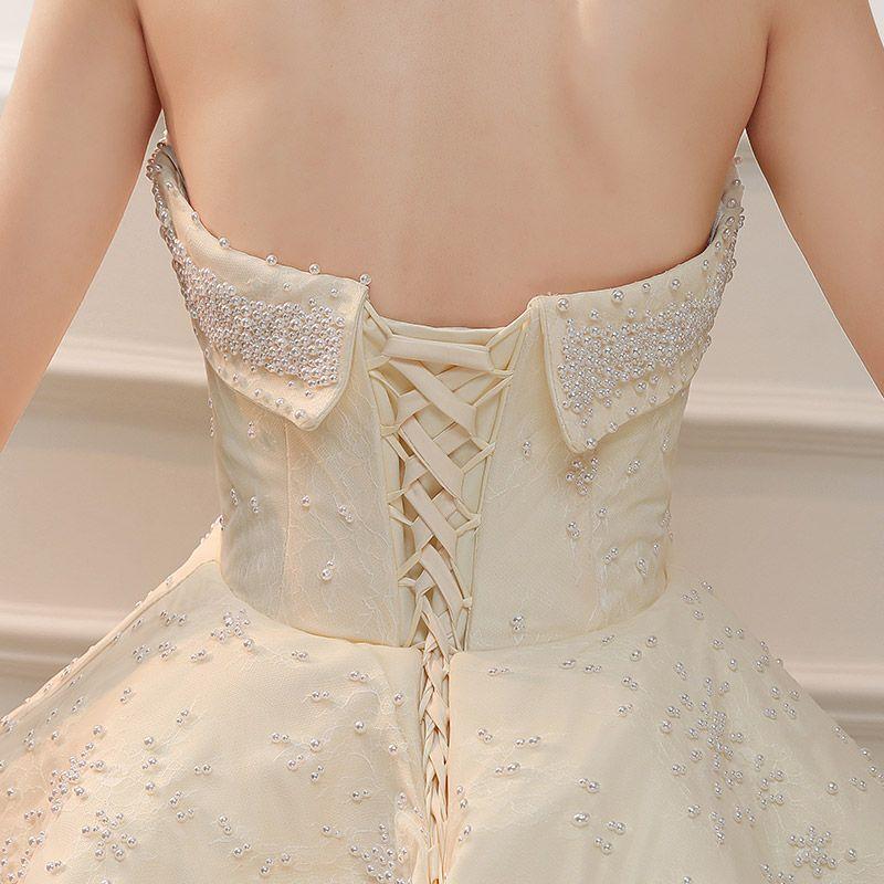 Classy Ivory Wedding Dresses 2019 Princess Sweetheart Sleeveless Backless Beading Pearl Ruffle Cathedral Train