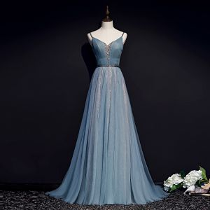 Elegant Pool Blue Evening Dresses  2019 A-Line / Princess Spaghetti Straps Beading Sash Sleeveless Backless Floor-Length / Long Formal Dresses