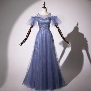 Modern / Fashion Ocean Blue Evening Dresses  2019 A-Line / Princess Scoop Neck Star Sequins Short Sleeve Backless Floor-Length / Long Formal Dresses