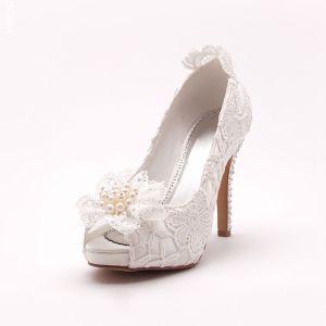 La Tete De Poisson Blanc Dentelle Mariée De Chaussures / Chaussures De Mariage / Chaussures Femme