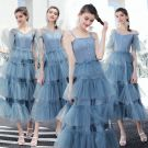 Modern / Fashion Ocean Blue Bridesmaid Dresses 2019 A-Line / Princess Tea-length Cascading Ruffles Backless Wedding Party Dresses
