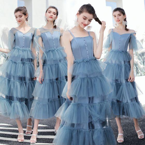 Modern / Fashion Ocean Blue Bridesmaid Dresses 2019 A-Line / Princess Tea-length Cascading Ruffles Backless Wedding Party Dresses