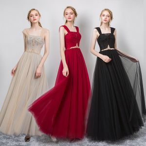 Chic / Beautiful Champagne Evening Dresses  2019 A-Line / Princess Square Neckline Beading Crystal Sleeveless Backless Floor-Length / Long Formal Dresses