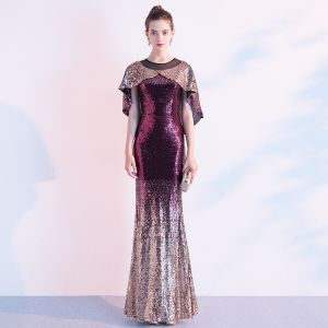Sparkly Gradient-Color Evening Dresses  With Shawl 2020 Trumpet / Mermaid Sequins Scoop Neck Short Sleeve Floor-Length / Long Formal Dresses