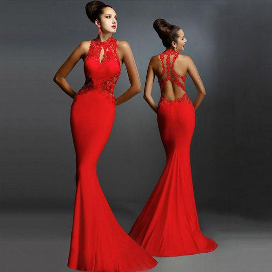 Sexy Red Maxi Dresses 2018 Trumpet / Mermaid High Neck Sleeveless See-through Backless Floor-Length / Long Women's Clothing