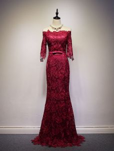 2016 Elegant Off The Shoulder Thick Lace Burgundy Long Evening Dress With Bow Sash