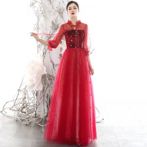 Chic / Beautiful Red See-through Evening Dresses  2020 A-Line / Princess High Neck Puffy 3/4 Sleeve Glitter Star Floor-Length / Long Ruffle Backless Formal Dresses