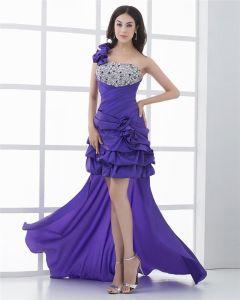 Asymetryczny Długosc Jedno Ramie Kwiat Linke Plisowana Tafta Wysoki Niski Suknie Balowe Sukienki Na Bal