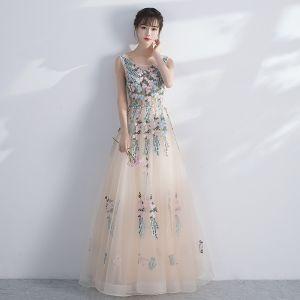 f6b95b482 Único Vestidos de gala 2017 Champán A-Line   Princess Largos Scoop Escote  Sin Mangas
