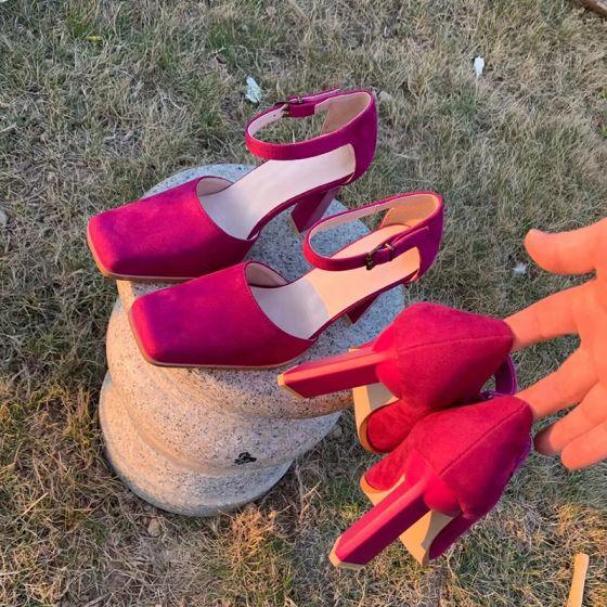 Vintage Rose Rød Casual Suede Sandaler Dame 2021 9 cm Tykke Hæle Kvadrat Tå Sandaler Højhælede