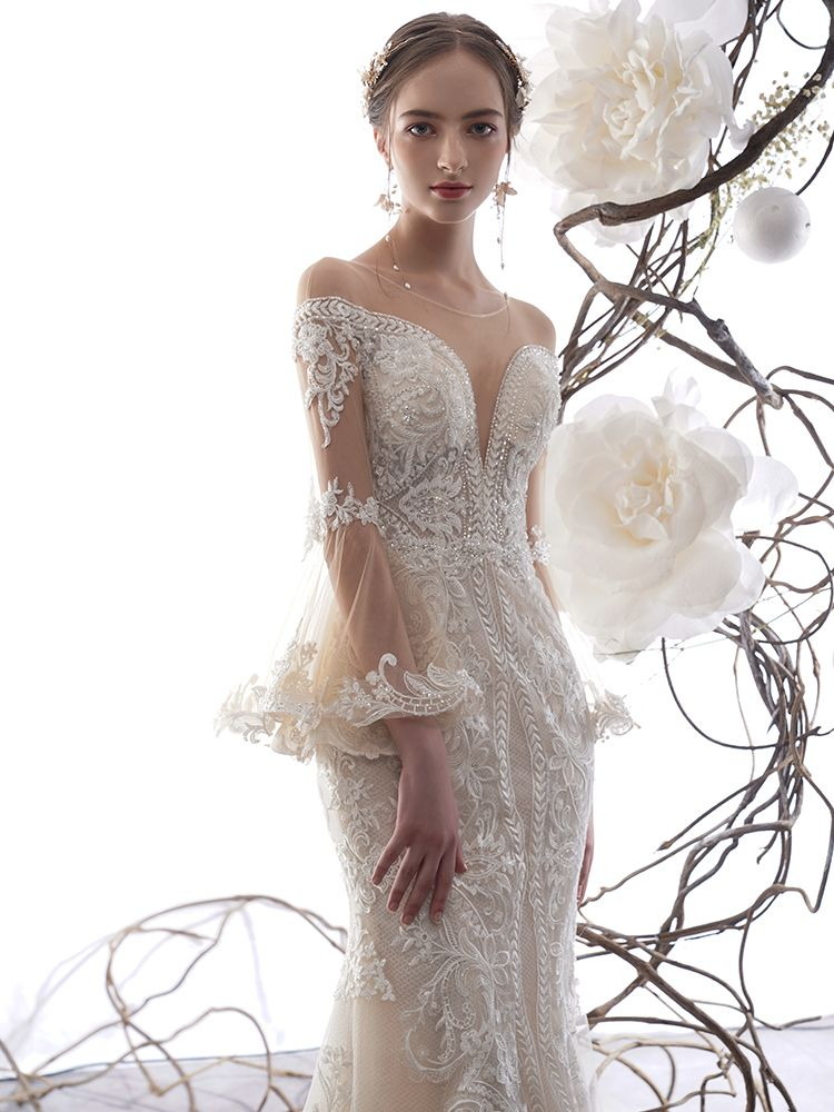 Charming Champagne See-through Wedding Dresses 2019 Trumpet / Mermaid Scoop Neck Bell sleeves Appliques Lace Glitter Handmade  Beading Chapel Train Ruffle