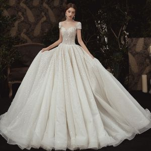 Luxury / Gorgeous Ivory Outdoor / Garden Wedding Dresses 2020 A-Line / Princess See-through Scoop Neck Short Sleeve Backless Glitter Tulle Sequins Beading Sweep Train Ruffle