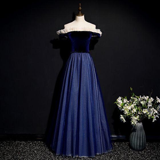 Simple Bleu Marine Robe De Bal 2020 Princesse De l'épaule Manches Courtes à carreaux Tulle Longue Volants Dos Nu Robe De Ceremonie