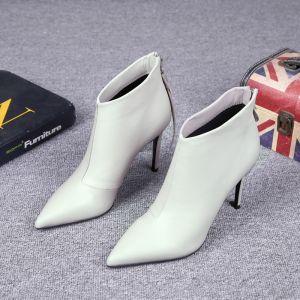 Enkel Hvit Casual Lær Kvinners støvler 2021 9 cm Stiletthæler Spisse Ankel Boots