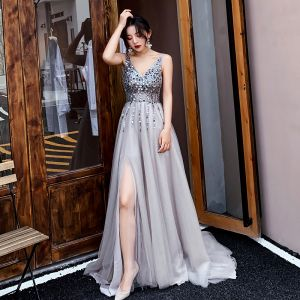 Charming Grey Evening Dresses  2019 A-Line / Princess V-Neck Beading Sequins Sleeveless Backless Sweep Train Formal Dresses