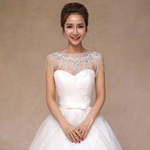 Hvide Scoop Neck Tulle Beading Krystal Rhinestone Bryllup Galla Sjaler 2017
