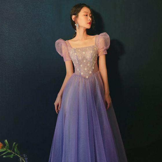 Vintage / Retro Purple Prom Dresses 2021 A-Line / Princess Square Neckline Beading Short Sleeve Backless Floor-Length / Long Prom Formal Dresses