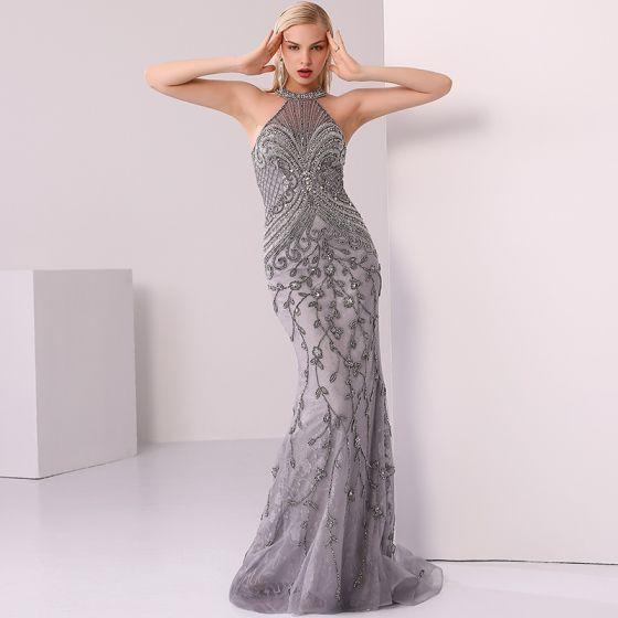 Luxury / Gorgeous Grey Evening Dresses  2020 Trumpet / Mermaid Scoop Neck Handmade  Beading Crystal Rhinestone Pearl Sleeveless Sweep Train Formal Dresses