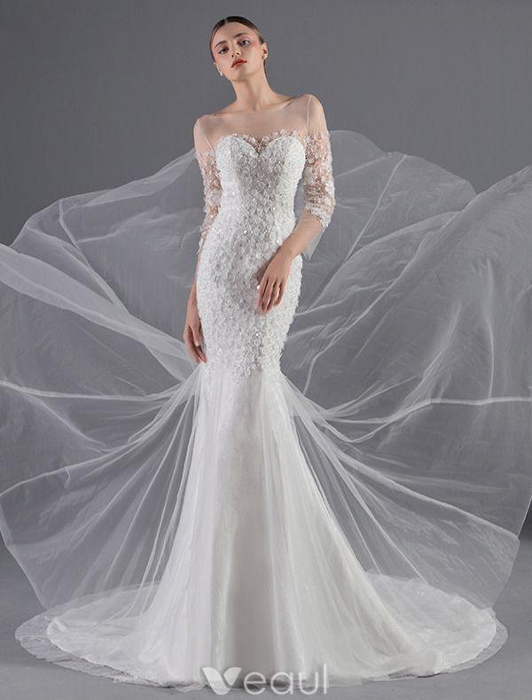 Robes De Mariée Sexy 2016 Fleurs Sirène Appliques Paillettes Tulle Blanc Robe De Mariée Sans Dos Avec Le Bouton De Couverture