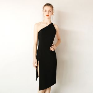 Moderne / Mode Simple Noire Robe De Soirée 2019 Une épaule Sans Manches Dos Nu Courte Robe De Ceremonie