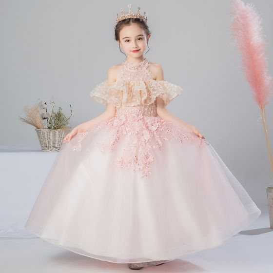 Romantic Pearl Pink Flower Girl Dresses 2019 A-Line / Princess High Neck Short Sleeve Appliques Lace Beading Pearl Rhinestone Floor-Length / Long Ruffle Backless Wedding Party Dresses