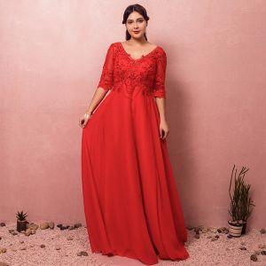 Luxe Rouge Grande Taille Robe De Soirée 2018 Princesse Lacer V-Cou Tulle Appliques Dos Nu Perlage Faux Diamant Soirée Robe De Bal
