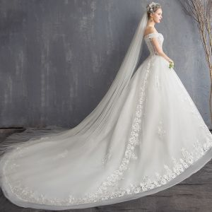 Affordable Ivory Wedding Dresses 2018 A-Line / Princess Off-The-Shoulder Short Sleeve Backless Glitter Tulle Appliques Lace Beading Tassel Pearl Cathedral Train Ruffle