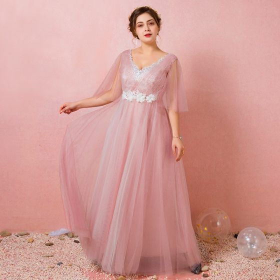 Chic / Beautiful Blushing Pink Plus Size Evening Dresses  2018 A-Line / Princess V-Neck Tulle Lace-up Crossed Straps Appliques Backless Evening Party Formal Dresses