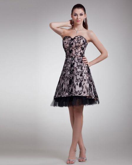 Spets Applique Parlor Alskling Mini Kvinnor Cocktail Klänning Festklänningar