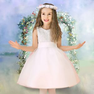 Winter-blumenmädchenkleid Weiß Prinzessin Kleid Kommunionkleider