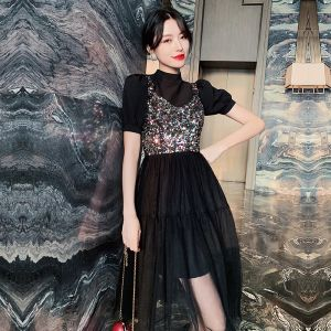 Fashion Black Party Dresses 2020 A-Line / Princess High Neck Sequins Short Sleeve Tea-length Formal Dresses