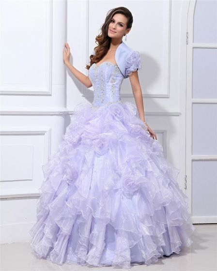 Ball Gown Yarn Ruffle Beaded Hand Flower Sweetheart Floor Length Quinceanera Prom Dresses