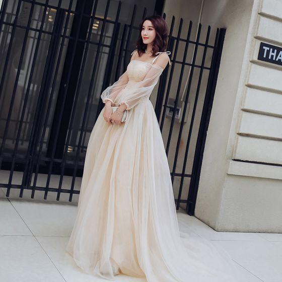 f21a61b76 Encantador Champán Verano Vestidos de gala 2018 Empire Spaghetti Straps  Fuera Del Hombro Manga Larga Chapel ...