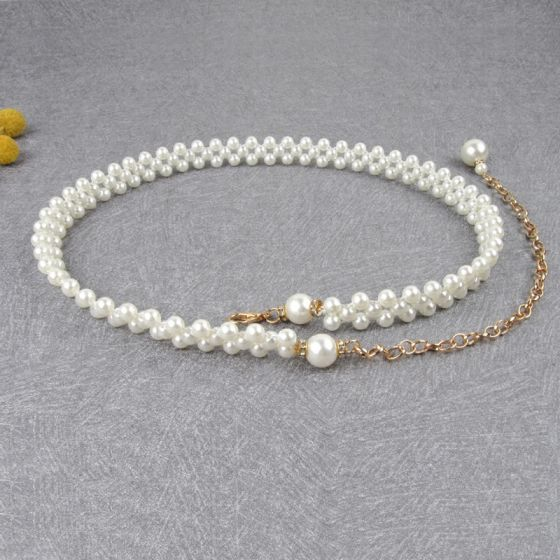 Chic / Beautiful White Wedding Belt 2020 Metal Beading Pearl Bridal Prom Accessories