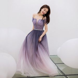 Encantador Morado Degradado De Color Vestidos de noche 2019 A-Line / Princess Escote Cuadrado Rhinestone Manga Corta Sin Espalda Largos Vestidos Formales