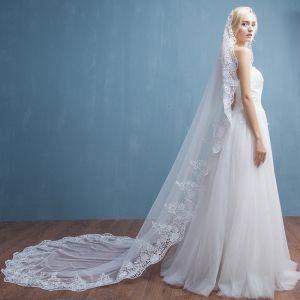 Elegantes 2017 2.5 m Blanco Apliques De Encaje Tul Exterior / Jardín Velo de novia